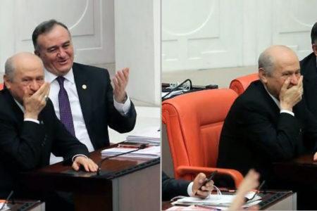Bahçeli Meclis'teki ısırma tartışmasına gülerek tepki verdi