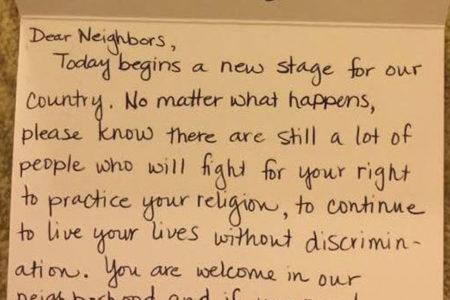 ABD'de Müslüman komşusuna mektup yolladı: 'Her şartta senin hakkını, inancını, haklarını savunmak için savaşacağız'