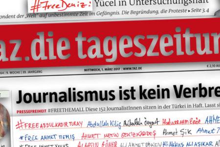 Alman gazete, Türkiye'de tutuklu gazetecilerin adlarını manşetine taşıdı
