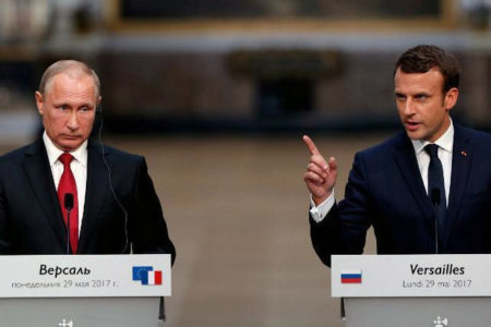 Macron, Putin'le ortak basın toplantısında Kremlin destekli medyayı suçladı