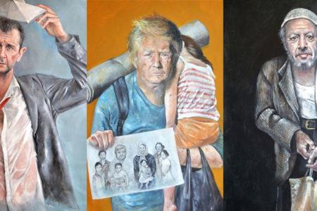 Suriyeli ressamdan, 'Mülteci liderler' sergisi