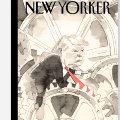 The New Yorker Trump'ı çizdi: Kravatı dişlilere kaptırmış