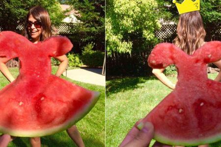 Yaz sıcaklarına sosyal medyanın çözümü: Karpuzdan elbiseler