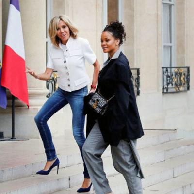 Rihanna Elysée Sarayı'na geldi, First Lady merdivenlerde karşıladı