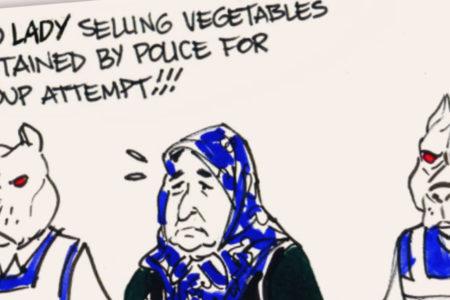Latuff, ByLock iddiasıyla gözaltına alınan pazarcı kadını çizdi