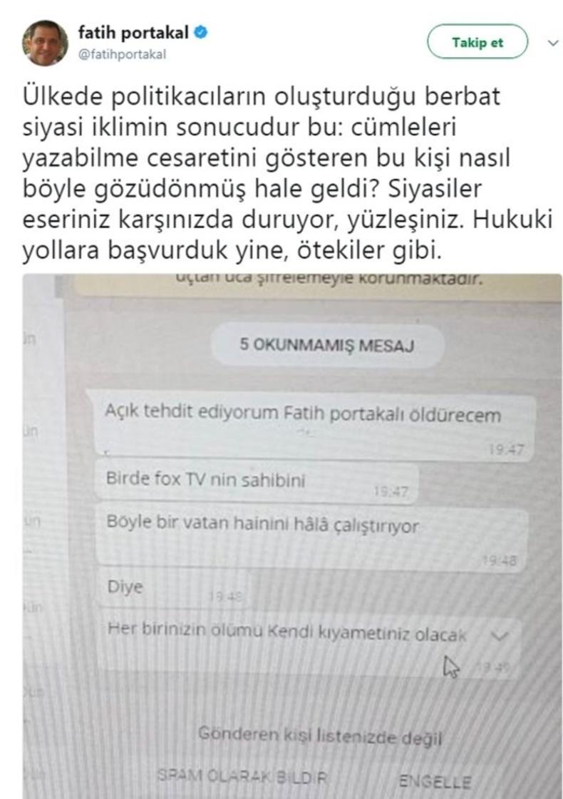 Fatih Portakal 'Ölüm tehdidi'ni Twitter'dan paylaştı